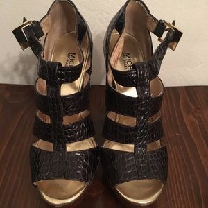 Black feaux crocodile strappy heels